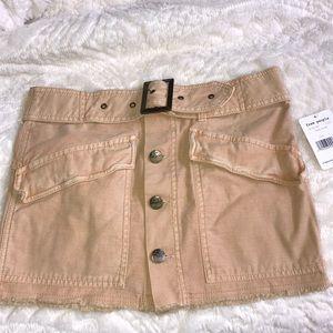 Free People nude mini denim skirt